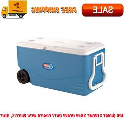 100 Quart Xtreme 5 Day Heavy Duty Cooler with Wheels, Blue,