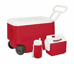Igloo 3-Piece Camping Combo,Wheeled Cooler with 2-L Bottle U