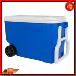 38 Qt Wheelie Cool Cooler with Wheels - Blue, NEW