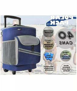Polar Pack 40 Can Insulated Wheeled Cooler Blue & Grey with