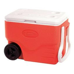 Wheeled Red Camping Cooler 40qt 59 Can Drink Beverage Ice St
