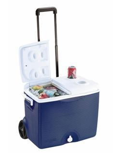 45 Qt. Blue Wheeled Cooler Easily Portable with All-terrain
