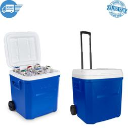 60 Qt Laguna Roller Cooler with Wheels - Blue Camping Picnic