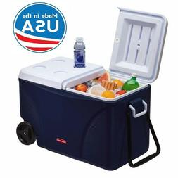 75 Qt. Blue Wheeled Cooler Portable Rolling Tow Handle Outdo