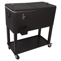 HIO 80 Qt Outdoor Patio Cooler Table On Wheels, with Shelf,