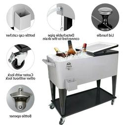 80Qt Rolling Cooler Cart Ice Outdoor Patio Deck Party Trolle
