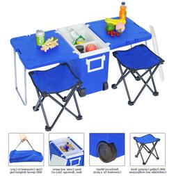 Blue Multi Function Rolling Cooler Picnic Camping Outdoor w/