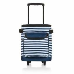 Picnic Time  Cooler on Wheels, Navy & White Stripe