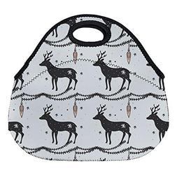 DKISEE Deer Christmas Pattern Large & Thick Neoprene Lunch B