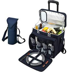 Picnic at Ascot Original Equipped Cooler on Wheels for 4 - E