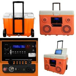 Koolmax 40 Qt. Orange Wheeled Cooler Bluetooth Pa System Pow