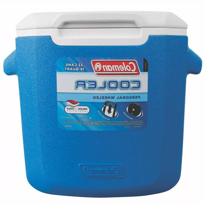 16qt wheeled cooler blue