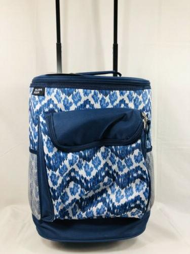 40 can insulated wheeled cooler blue white