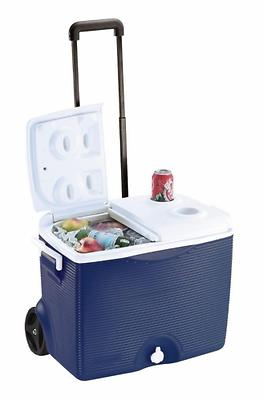 45 qt wheels cooler with cup holder