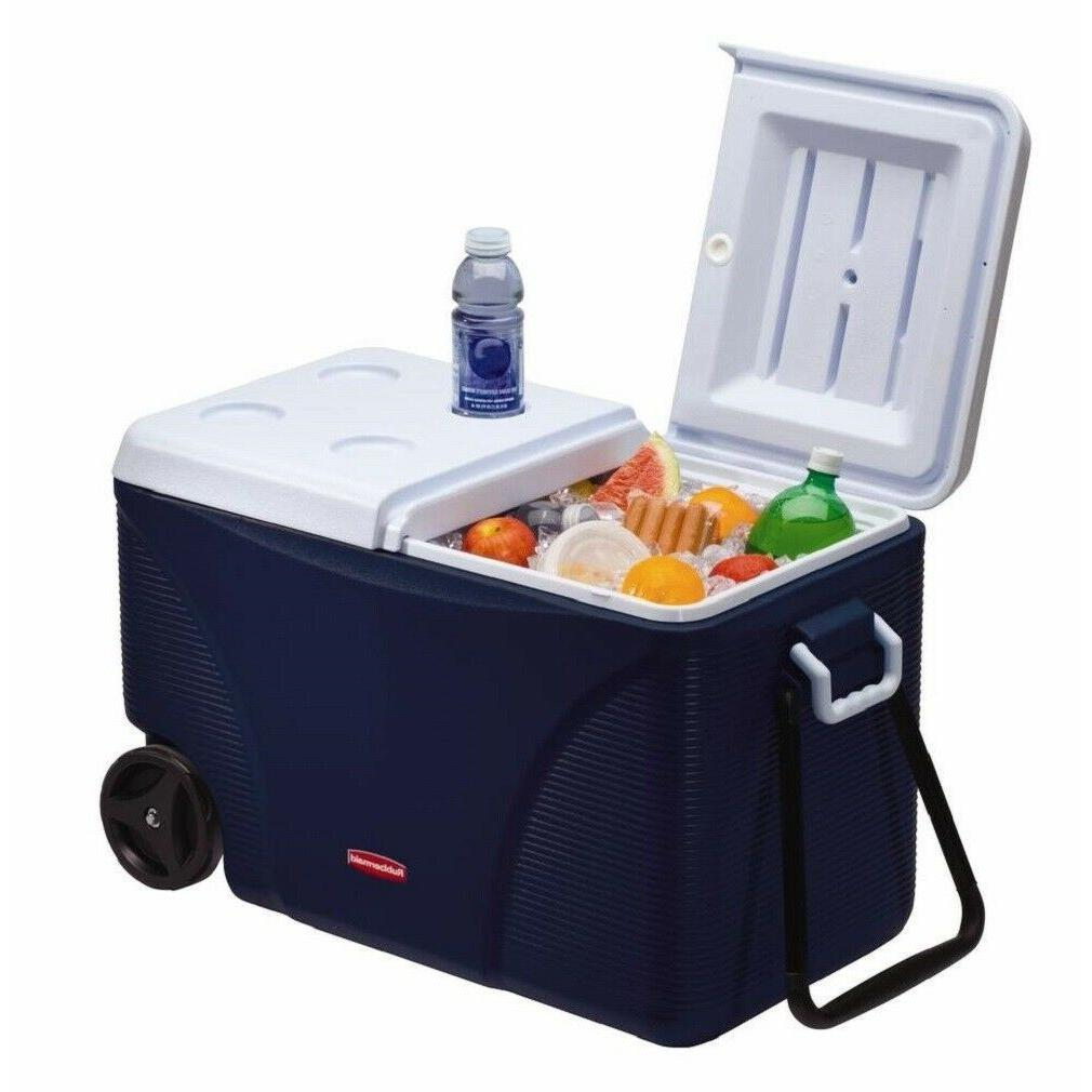 75 Quart Rubbermaid Blue Wheeled Cooler Outdoor Camping Picn