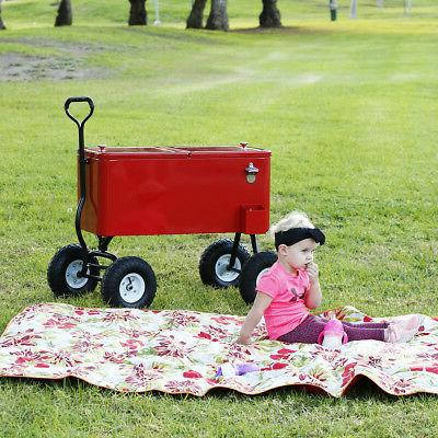 Clevr Red Cooler Cart Large Park