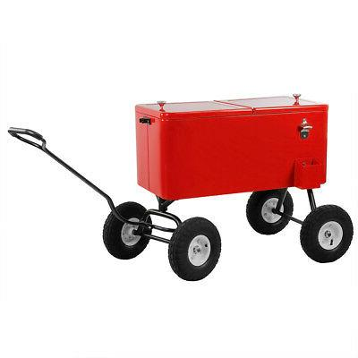 Clevr 80-Qt Cooler Wagon Chest Cart Wheels Beaches Park
