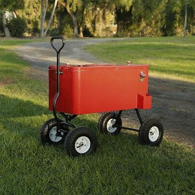 Clevr Rolling Cooler Wagon Ice Chest Cart Wheels Beaches Park