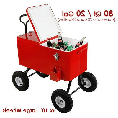 80 qt red rolling cooler wagon ice