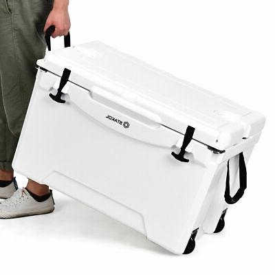 80 Quart Cooler 2 Wheels Ice Duty Hunting Keep Warm