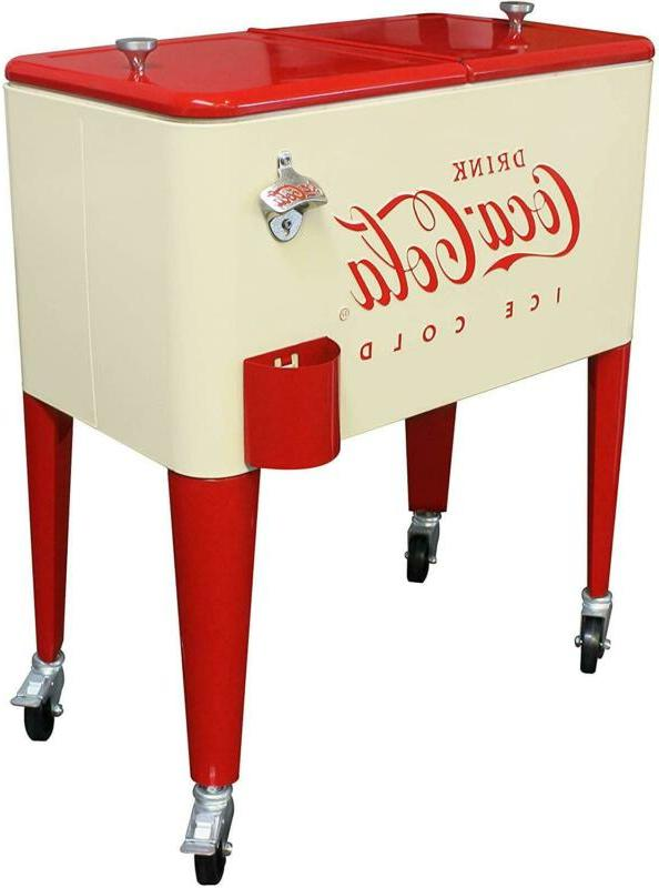 Cream Red 60 Coca-Cola Rolling Party Cart Wheels Beverage Tub Cooler Ice