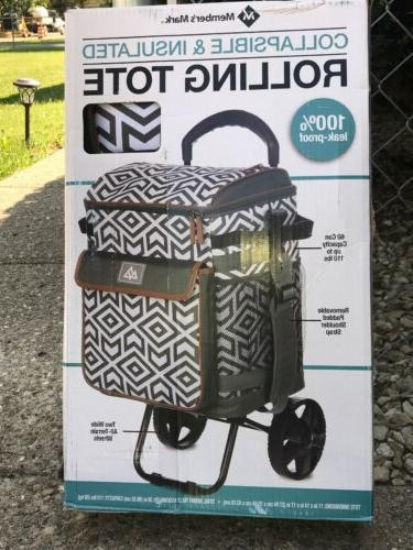insulated rolling cooler bag tote cart collapsible