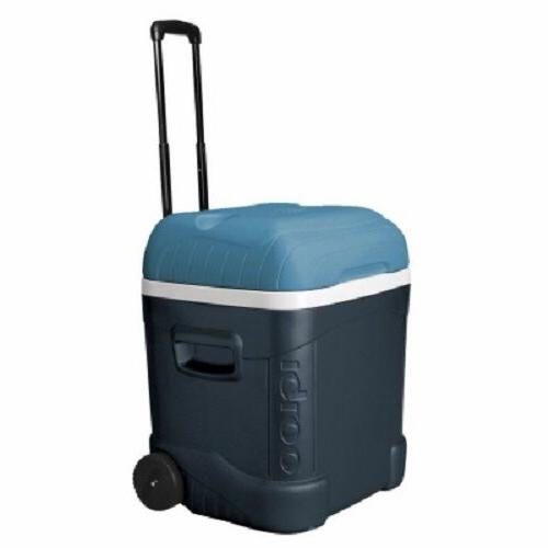Igloo MaxCold 70 Qt Roller Cooler, Jet Carbon/Ice Blue/White