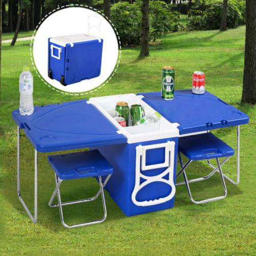Wondrous Multi Function Rolling Cooler Picnic Camping Outdoor W Table W 2 Chairs Blue Forskolin Free Trial Chair Design Images Forskolin Free Trialorg