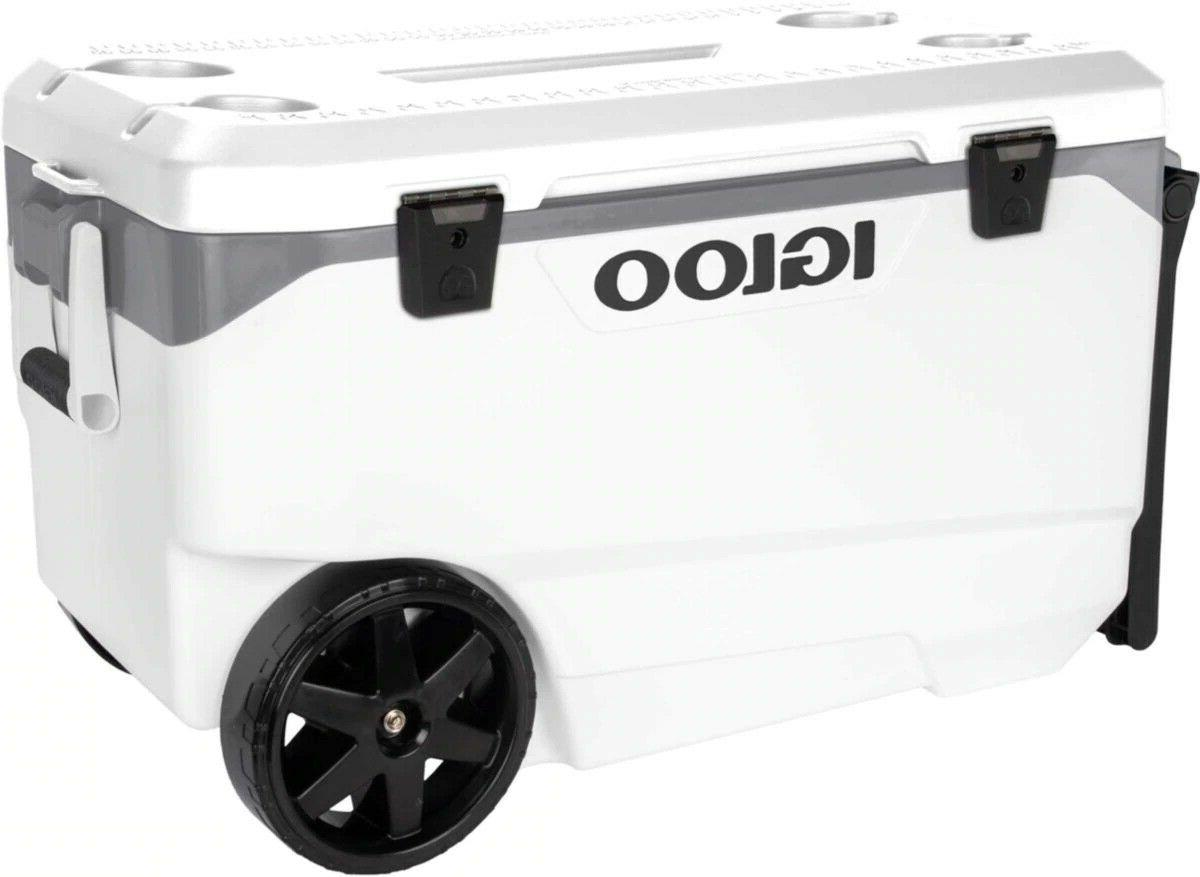 outdoor 90 quart rolling cooler camping holds
