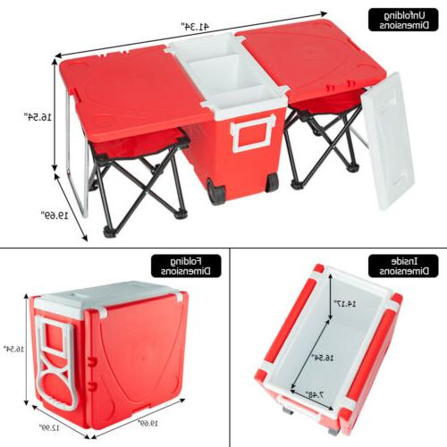Outdoor Picnic Rolling Cooler Upgraded Red