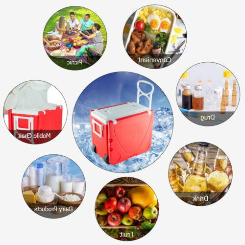 Outdoor Picnic Foldable Rolling Cooler Red