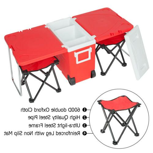 Outdoor Multi-function Rolling Cooler Red