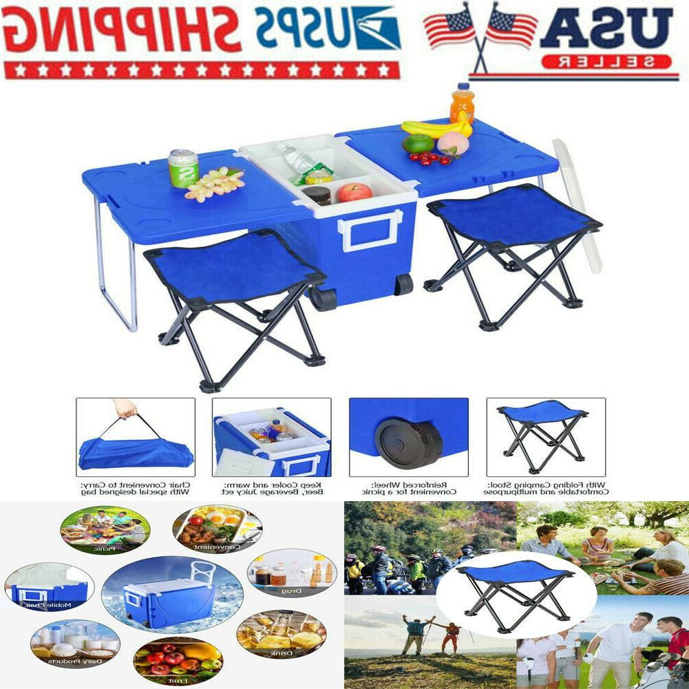outdoor picnic foldable multi function rolling cooler