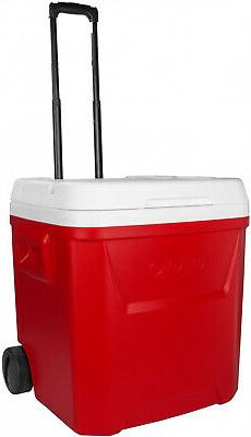 red 60 qt ice cube rolling cooler