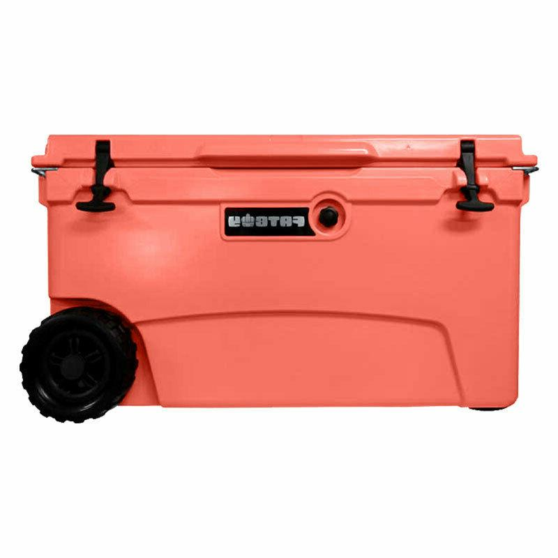 Fatboy 70QT Rotomolded Wheeled Chest Ice Box Cooler Coral