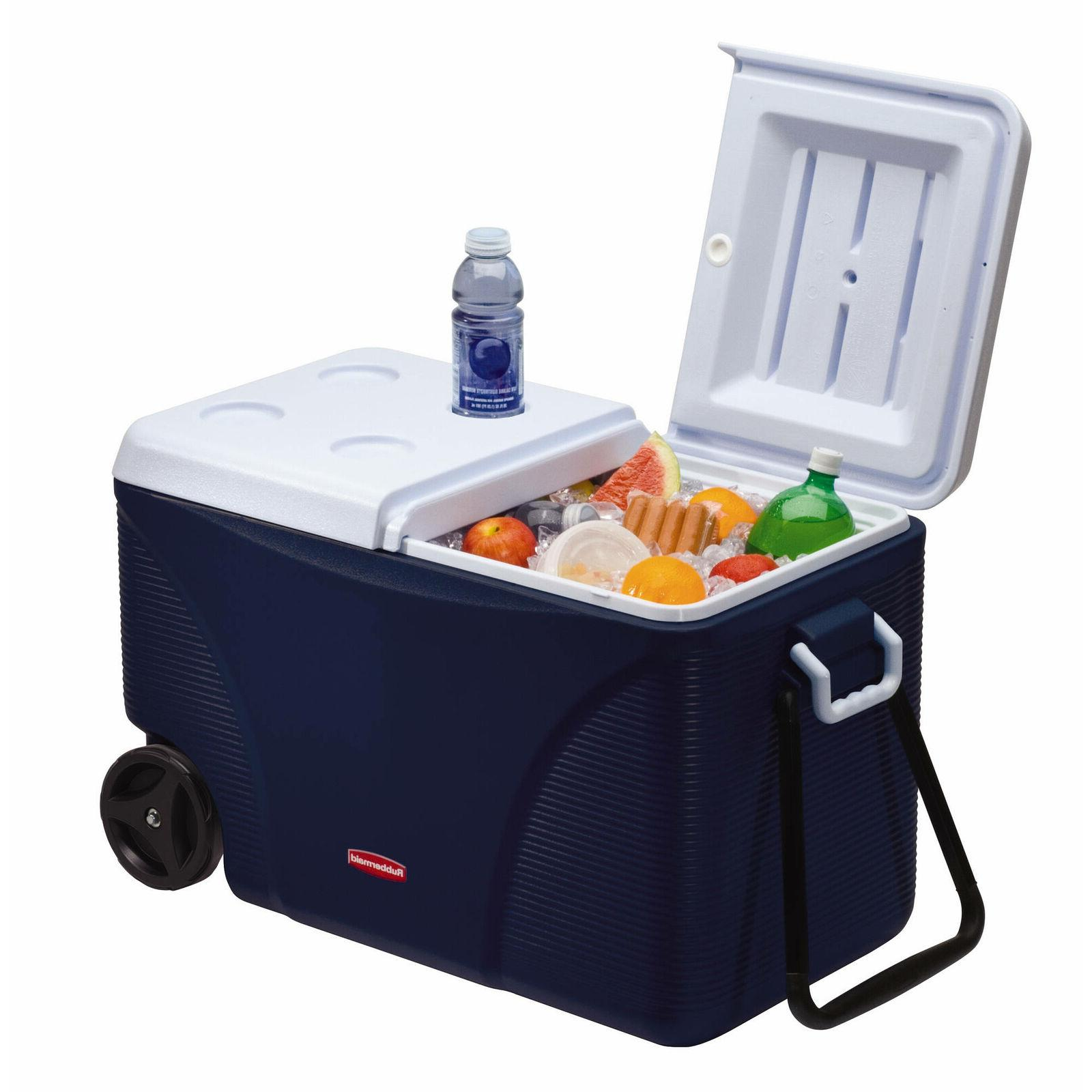 Rubbermaid 75 qt 5-Day Wheeled Ice Chest Blue Outdoor Family