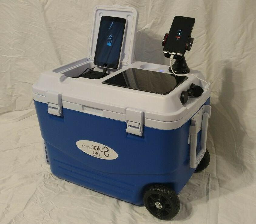 solar life wheeled cooler your devices fishing