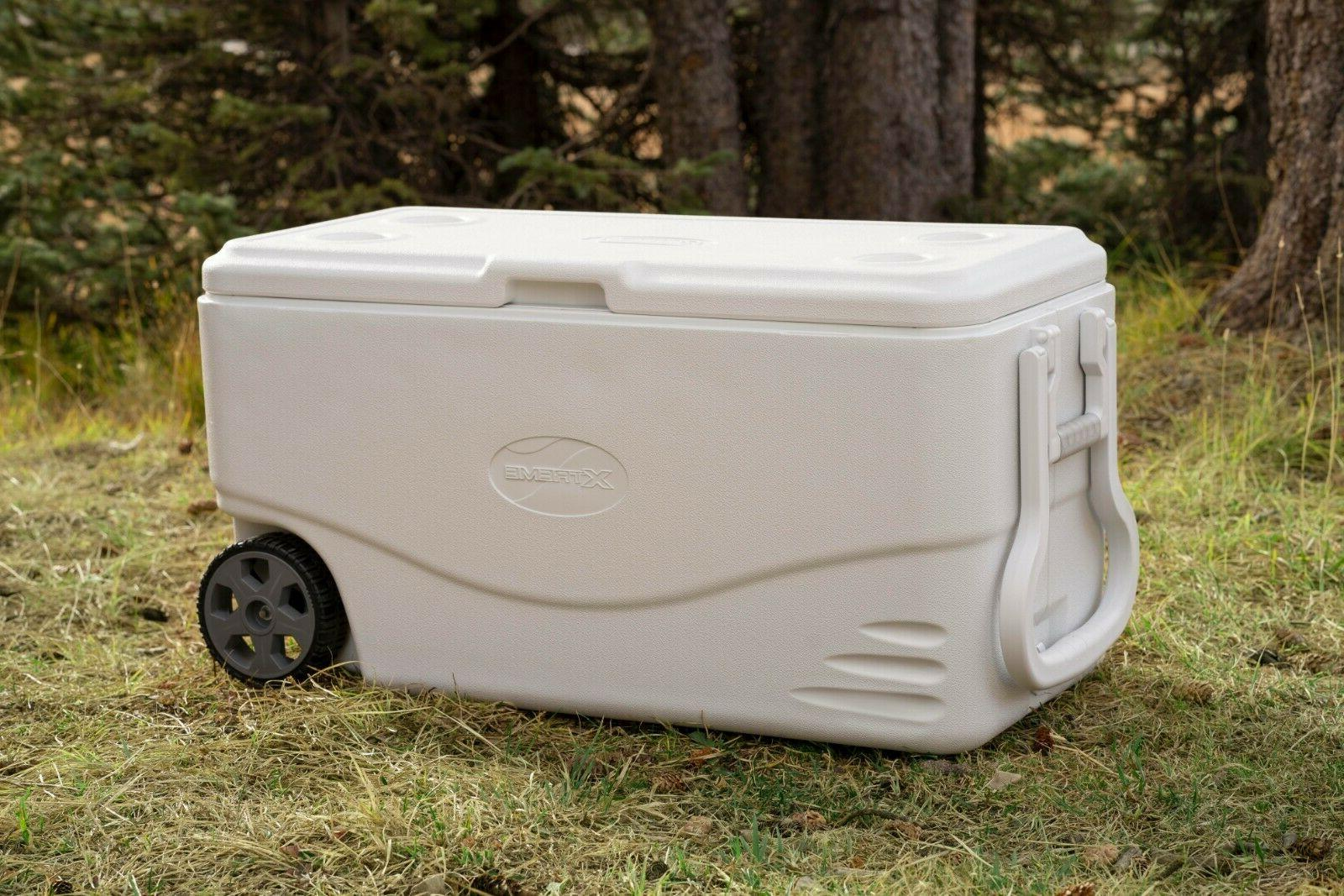 Cooler With Wheels Coleman 100 Quart Xtreme 5 Day Heavy Duty