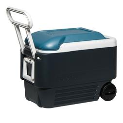 Igloo Maxcold 40 Roller Cooler Wheeled Jet Carbon Ice Blue