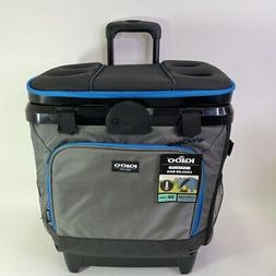 Igloo MaxCold Cooler Bag Gray Blue Rolling Wheels Mesh Side