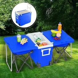 Multi Function Rolling Cooler Picnic Camping Outdoor w/ Tabl