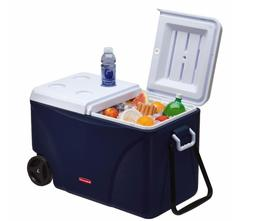 New Rubbermaid 75 Qt. Blue Wheeled Cooler, Ice Chest