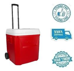 New Red White 60 Quart Ice Cube Rolling Cooler Wheeled Soda