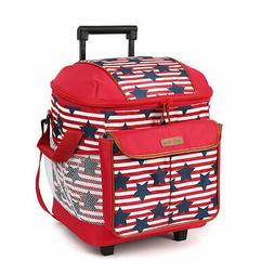 NEW Arctic Zone Red White & Blue 44 Can Insulated Rolling Po