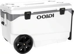 Outdoor 90 Quart Rolling Cooler Igloo Camping Holds 137 Cans