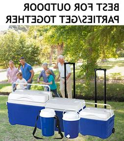 Outdoor Wheeled Cooler Set For Summer Camping/Park/Family Be