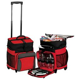 Picnic Rolling Hold 36 Cans Cooler on Wheels- Red