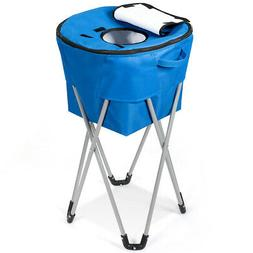 Portable Insulated Bucket Cooler w/ Folding Stand & Carry Ba