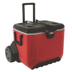 Red 2-Wheeled 55 Qt. Capacity Rugged Chest Cooler with Long