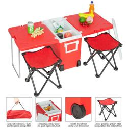 Red Small Wheeled Rolling Cooler Ice Chest Picnic Camping w/